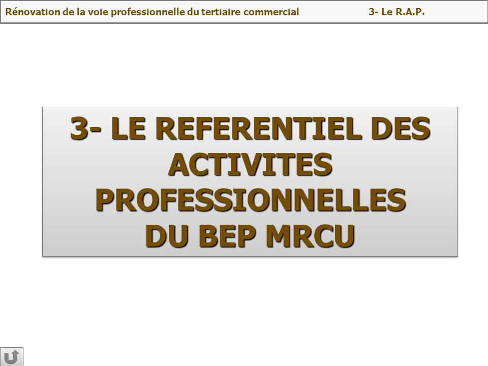 3- LE REFERENTIEL DES ACTIVITES PROFESSIONNELLES DU BEP MRCU 3- LE REFERENTIEL DES ACTIVITES PROFESSIONNELLES DU BEP MRCU Rénovation de la voie profes