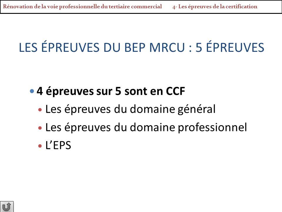 LES ÉPREUVES DU BEP MRCU : 5 ÉPREUVES 4 épreuves sur 5 sont en CCF Les épreuves du domaine général Les épreuves du domaine professionnel LEPS Rénovati