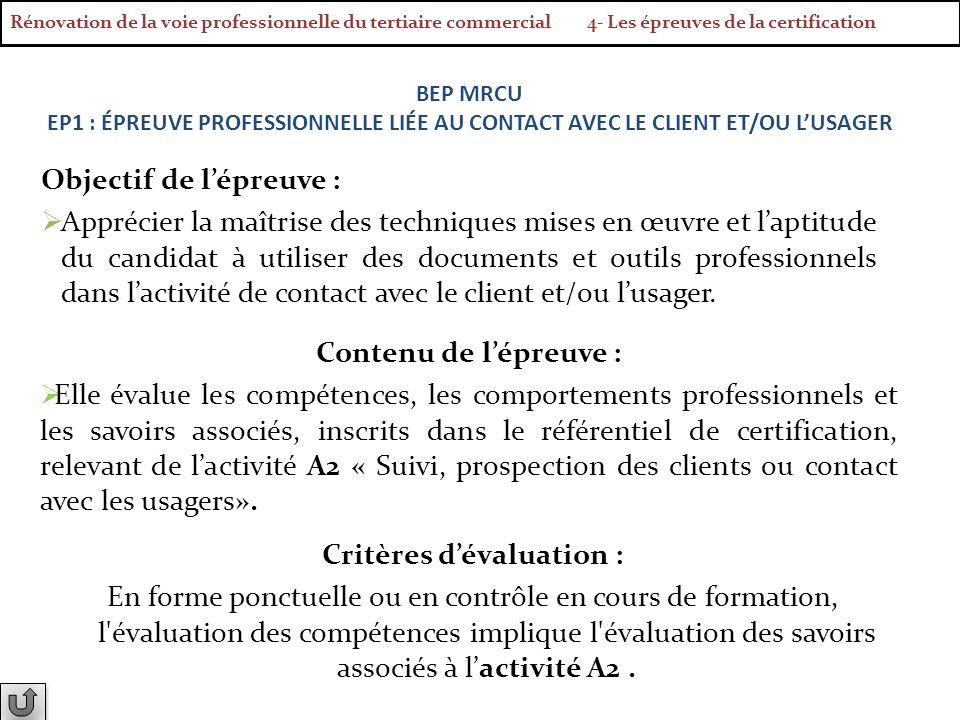 Objectif de lépreuve : Apprécier la maîtrise des techniques mises en œuvre et laptitude du candidat à utiliser des documents et outils professionnels