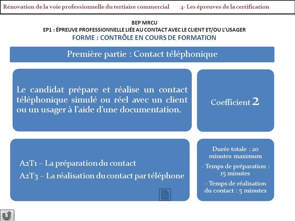 Première partie : Contact téléphonique Le candidat prépare et réalise un contact téléphonique simulé ou réel avec un client ou un usager à laide dune