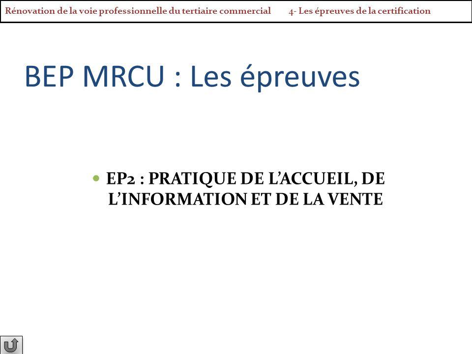 BEP MRCU : Les épreuves EP2 : PRATIQUE DE LACCUEIL, DE LINFORMATION ET DE LA VENTE Rénovation de la voie professionnelle du tertiaire commercial 4- Le