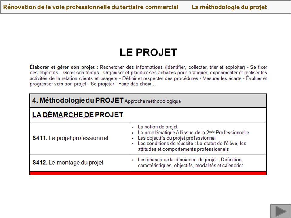 Rénovation de la voie professionnelle du tertiaire commercial La méthodologie du projet