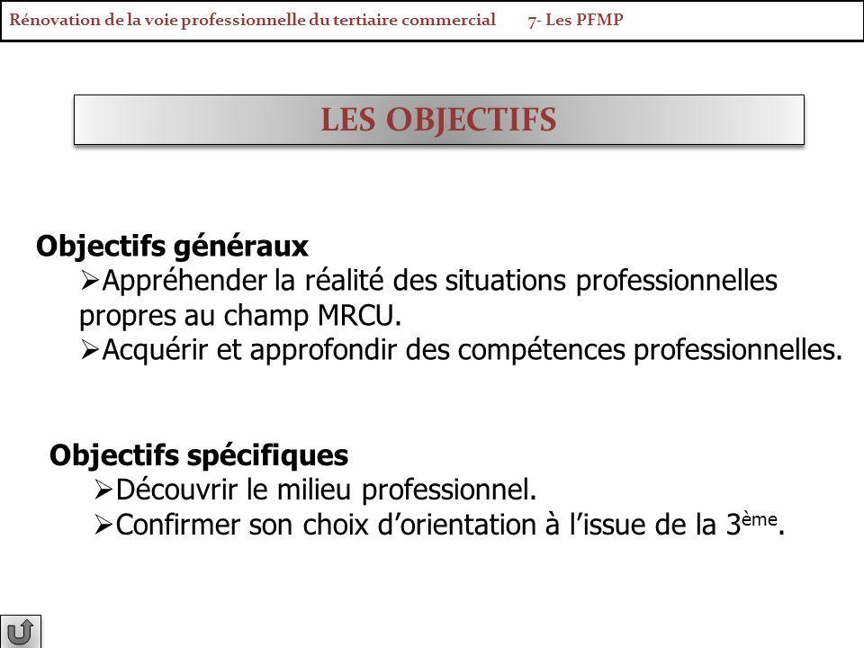 LES OBJECTIFS Objectifs généraux Appréhender la réalité des situations professionnelles propres au champ MRCU. Acquérir et approfondir des compétences