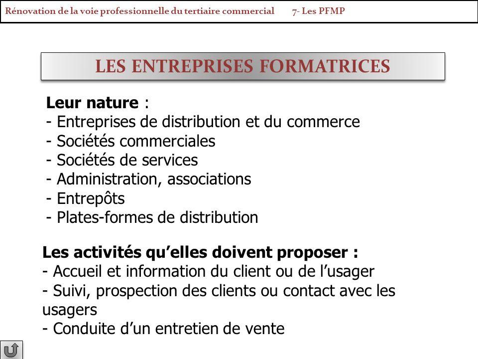 LES ENTREPRISES FORMATRICES Leur nature : - Entreprises de distribution et du commerce - Sociétés commerciales - Sociétés de services - Administration