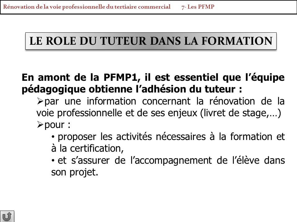 LE ROLE DU TUTEUR DANS LA FORMATION En amont de la PFMP1, il est essentiel que léquipe pédagogique obtienne ladhésion du tuteur : par une information