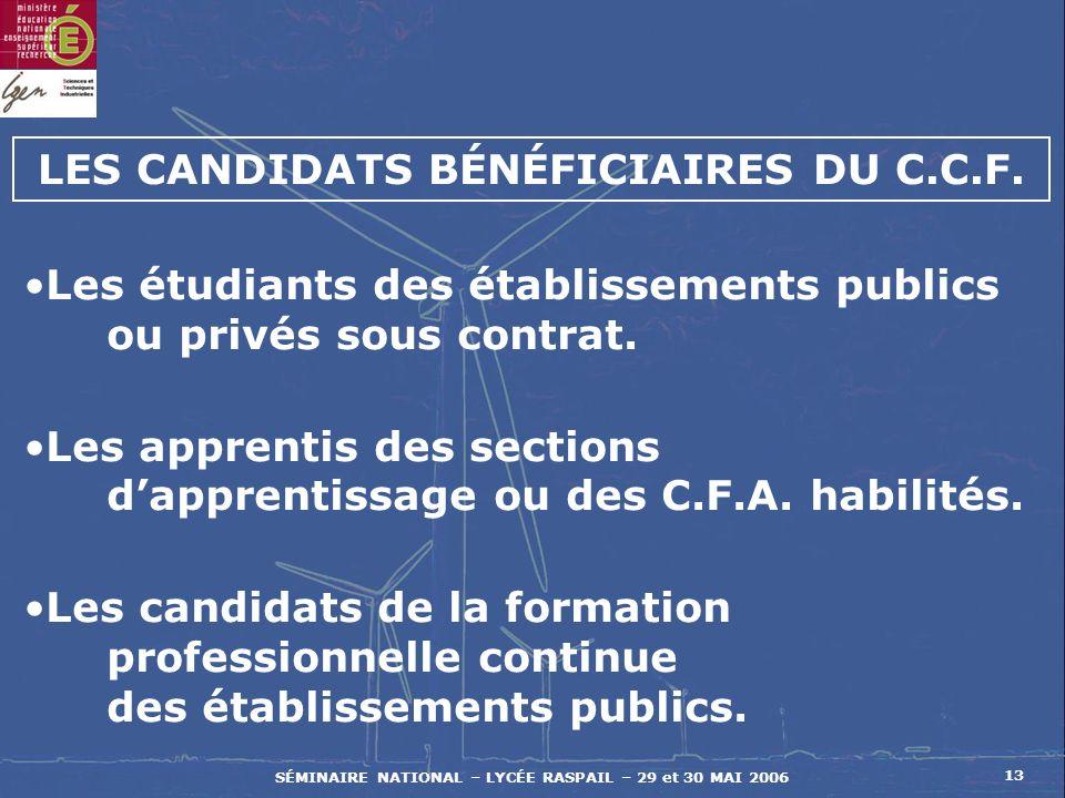 SÉMINAIRE NATIONAL – LYCÉE RASPAIL – 29 et 30 MAI 2006 13 Les étudiants des établissements publics ou privés sous contrat.