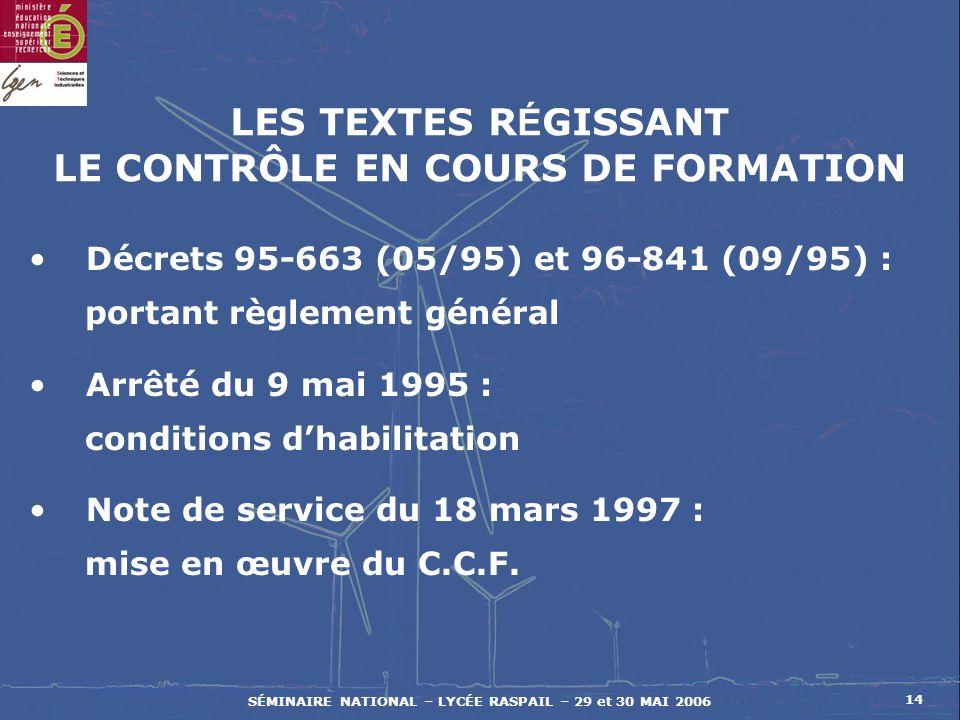 SÉMINAIRE NATIONAL – LYCÉE RASPAIL – 29 et 30 MAI 2006 14 LES TEXTES R É GISSANT LE CONTRÔLE EN COURS DE FORMATION Décrets 95-663 (05/95) et 96-841 (09/95) : portant règlement général Arrêté du 9 mai 1995 : conditions dhabilitation Note de service du 18 mars 1997 : mise en œuvre du C.C.F.