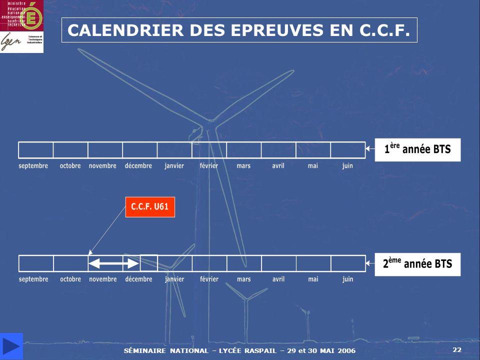 SÉMINAIRE NATIONAL – LYCÉE RASPAIL – 29 et 30 MAI 2006 22 CALENDRIER DES EPREUVES EN C.C.F.