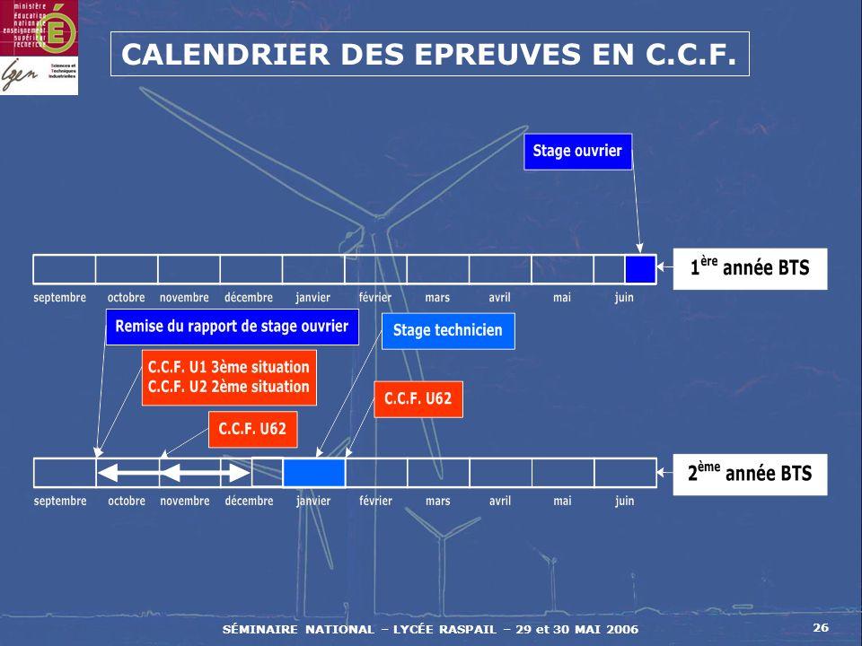 SÉMINAIRE NATIONAL – LYCÉE RASPAIL – 29 et 30 MAI 2006 26 CALENDRIER DES EPREUVES EN C.C.F.
