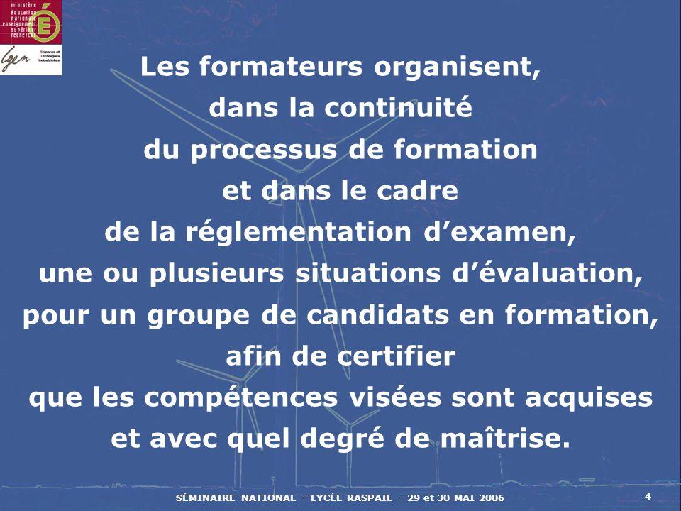 SÉMINAIRE NATIONAL – LYCÉE RASPAIL – 29 et 30 MAI 2006 25 CALENDRIER DES EPREUVES EN C.C.F.