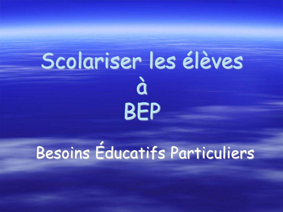 Scolariser les élèves à BEP Besoins Éducatifs Particuliers