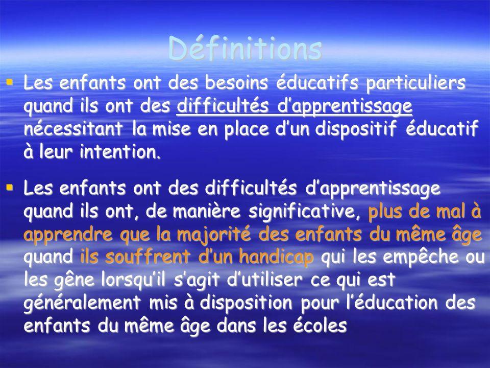 Scolarisation des élèves à Besoins éducatifs particuliers Cette notion concerne une vaste population d élèves à besoins éducatifs particuliers.