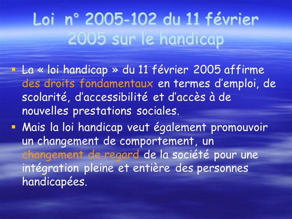 Loi n° 2005-102 du 11 février 2005 sur le handicap La « loi handicap » du 11 février 2005 affirme des droits fondamentaux en termes demploi, de scolarité, daccessibilité et daccès à de nouvelles prestations sociales.