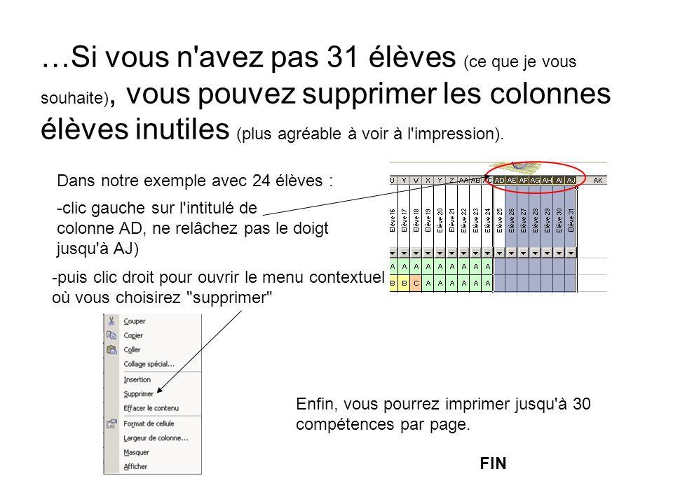 …Si vous n'avez pas 31 élèves (ce que je vous souhaite), vous pouvez supprimer les colonnes élèves inutiles (plus agréable à voir à l'impression). -pu