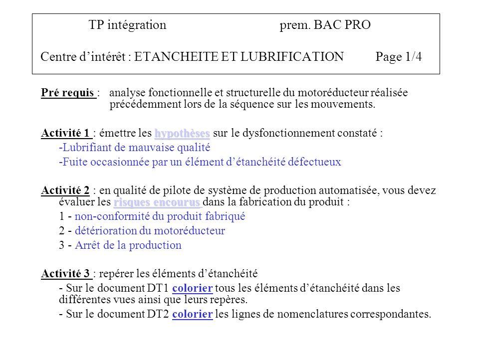TP intégrationprem. BAC PRO Centre dintérêt : ETANCHEITE ET LUBRIFICATIONPage 1/4 Pré requis : analyse fonctionnelle et structurelle du motoréducteur