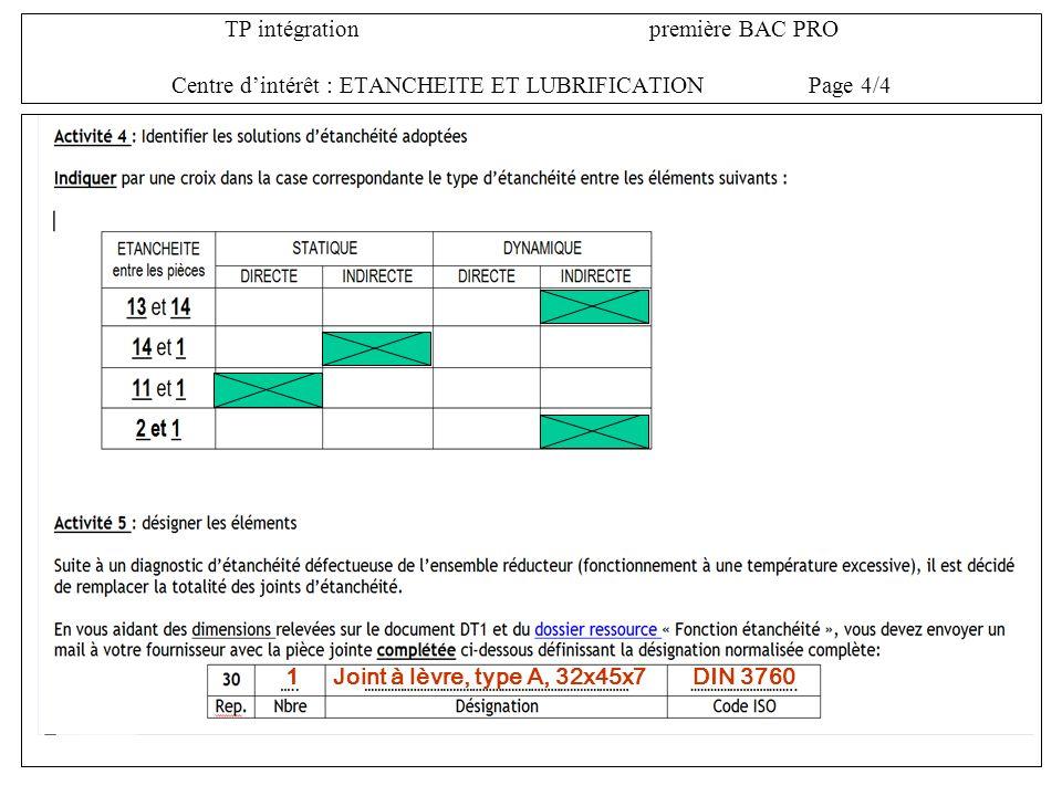 TP intégrationpremière BAC PRO Centre dintérêt : ETANCHEITE ET LUBRIFICATIONPage 4/4 1Joint à lèvre, type A, 32x45x7DIN 3760