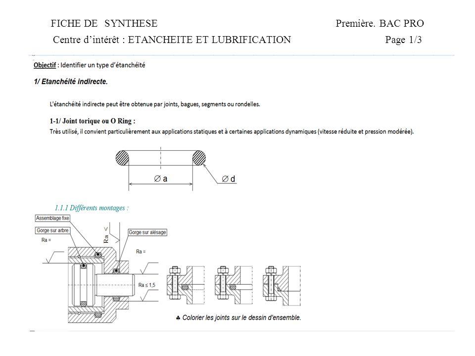 FICHE DE SYNTHESEPremière. BAC PRO Centre dintérêt : ETANCHEITE ET LUBRIFICATIONPage 1/3