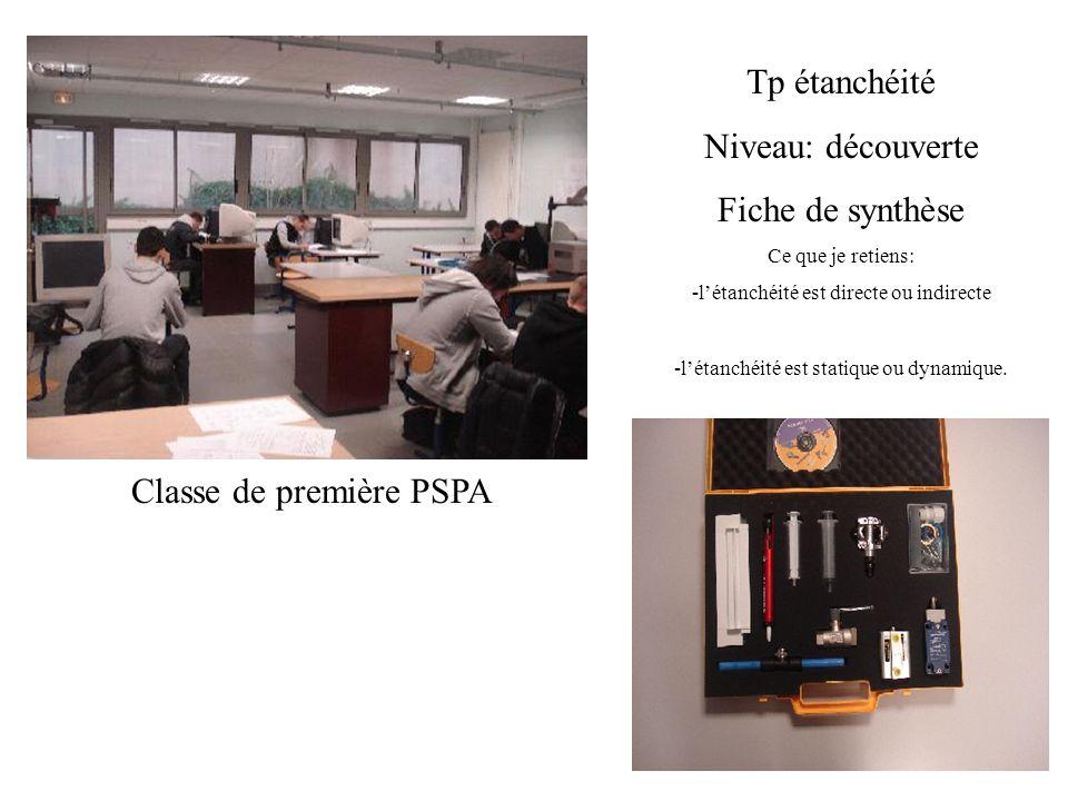 Classe de première PSPA Tp étanchéité Niveau: découverte Fiche de synthèse Ce que je retiens: -létanchéité est directe ou indirecte -létanchéité est s