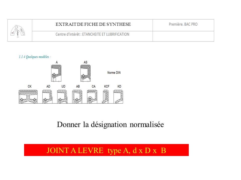 JOINT A LEVRE type A, d x D x B Donner la désignation normalisée EXTRAIT DE FICHE DE SYNTHESE
