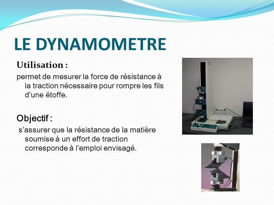 LE DYNAMOMETRE Utilisation : permet de mesurer la force de résistance à la traction nécessaire pour rompre les fils dune étoffe. Objectif : sassurer q