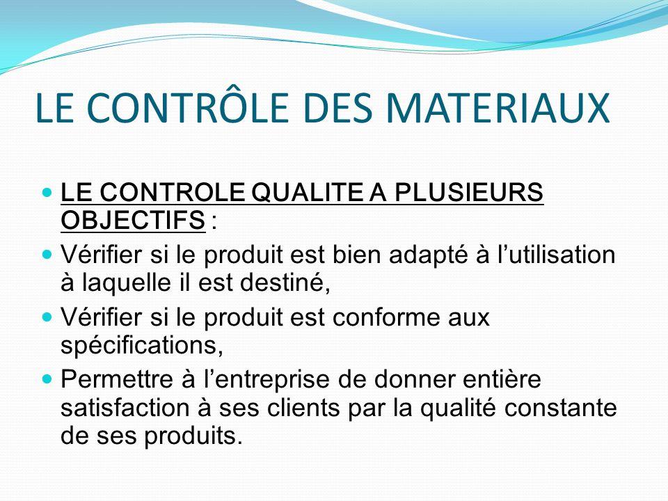 LE CONTRÔLE DES MATERIAUX LE CONTROLE QUALITE A PLUSIEURS OBJECTIFS : Vérifier si le produit est bien adapté à lutilisation à laquelle il est destiné,