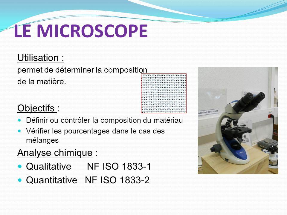 LE MICROSCOPE Utilisation : permet de déterminer la composition de la matière. Objectifs : Définir ou contrôler la composition du matériau Vérifier le
