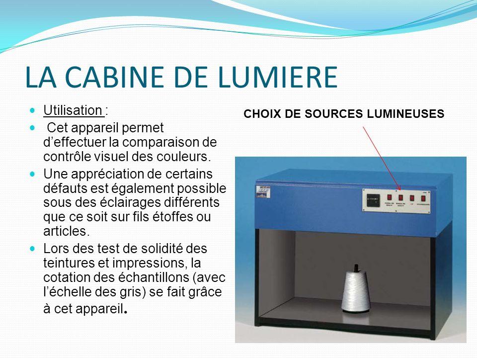 LA CABINE DE LUMIERE Utilisation : Cet appareil permet deffectuer la comparaison de contrôle visuel des couleurs. Une appréciation de certains défauts