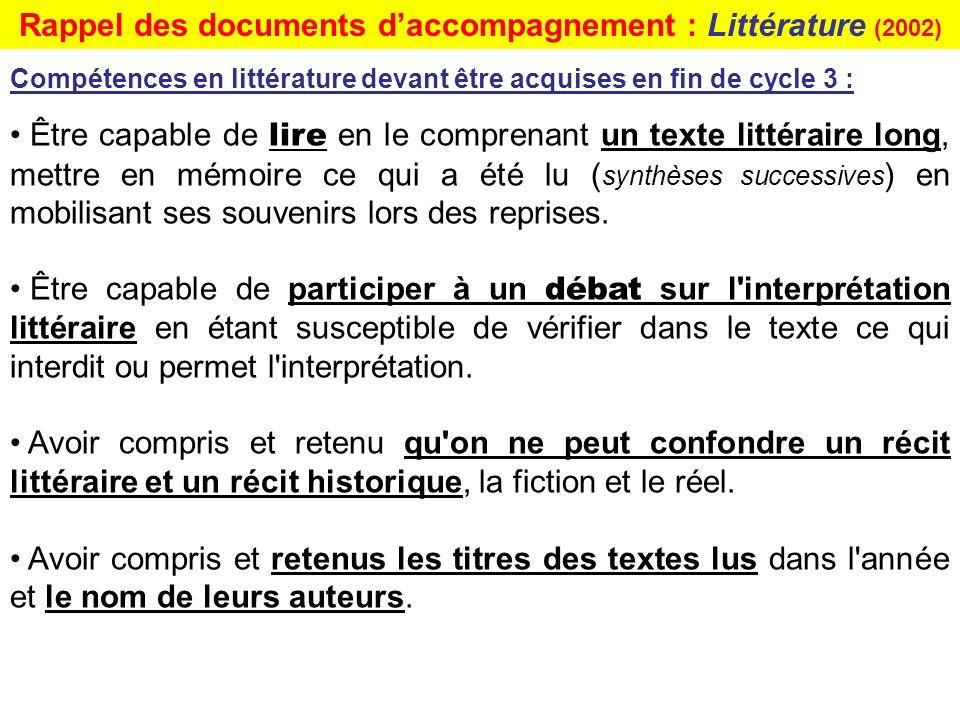 Être capable de lire en le comprenant un texte littéraire long, mettre en mémoire ce qui a été lu ( synthèses successives ) en mobilisant ses souvenir
