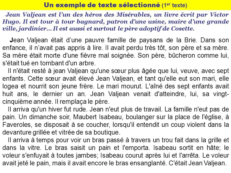 Un exemple de texte sélectionné (1 er texte) Jean Valjean est lun des héros des Misérables, un livre écrit par Victor Hugo. Il est tour à tour bagnard