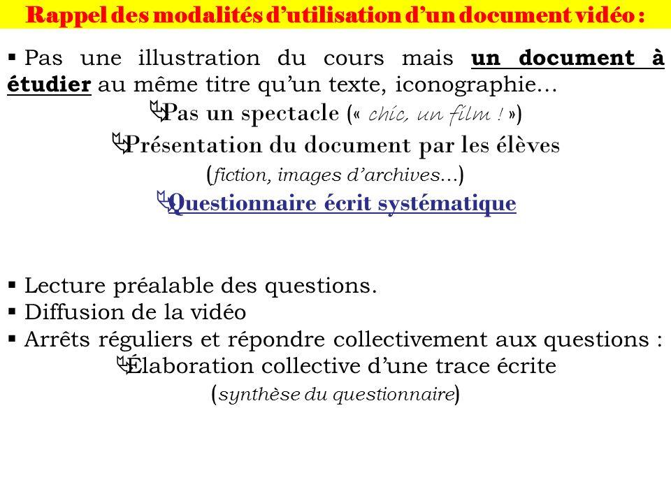 Rappel des modalités dutilisation dun document vidéo : Pas une illustration du cours mais un document à étudier au même titre quun texte, iconographie… Pas un spectacle (« chic, un film .
