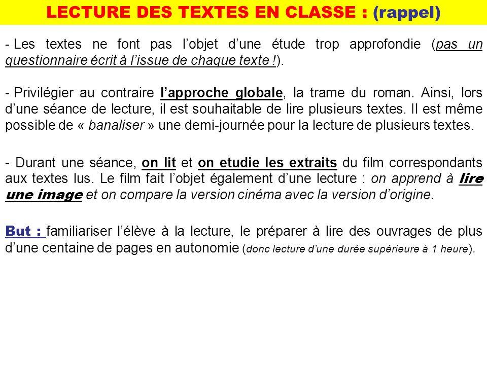- Les textes ne font pas lobjet dune étude trop approfondie (pas un questionnaire écrit à lissue de chaque texte !).