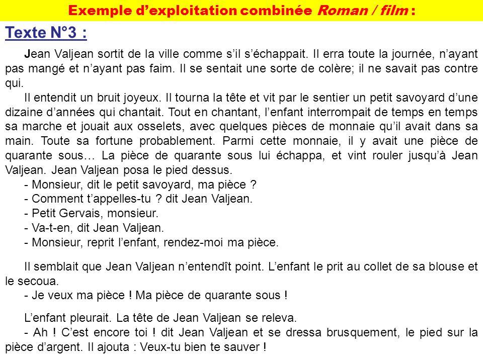 Exemple dexploitation combinée Roman / film : Texte N°3 : Jean Valjean sortit de la ville comme sil séchappait. Il erra toute la journée, nayant pas m