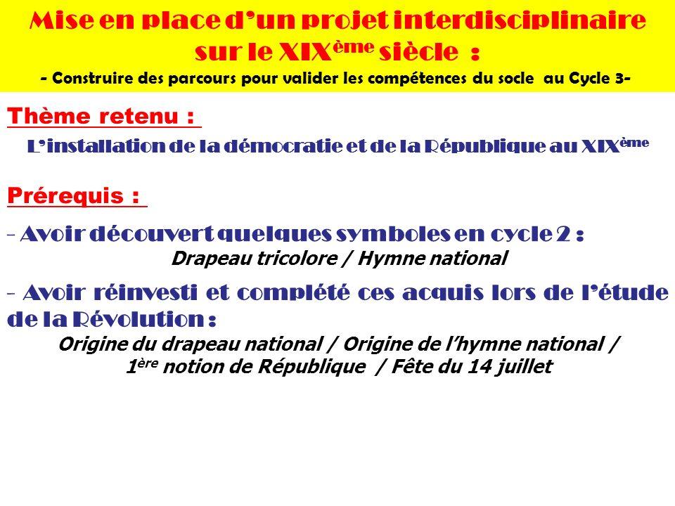 Prérequis : - Avoir découvert quelques symboles en cycle 2 : Drapeau tricolore / Hymne national - Avoir réinvesti et complété ces acquis lors de létud