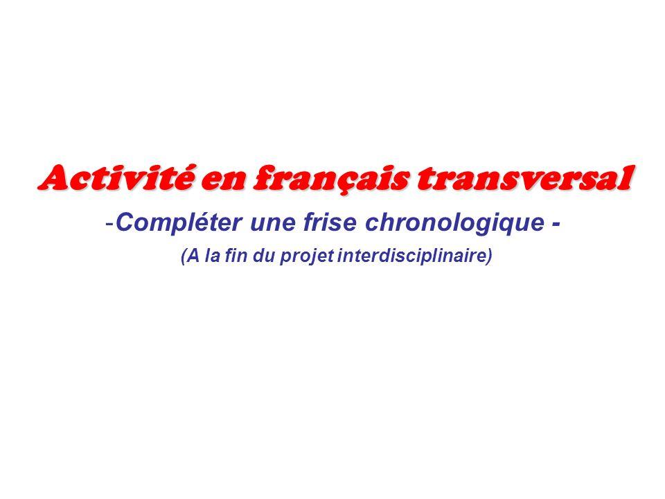 Activité en français transversal -Compléter une frise chronologique - (A la fin du projet interdisciplinaire)
