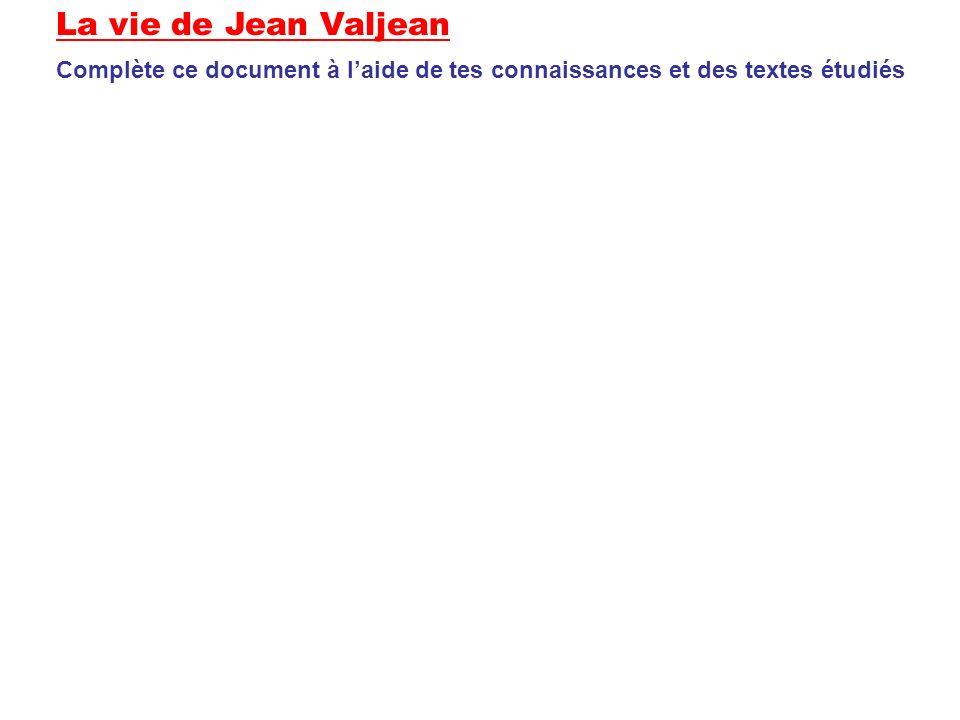 La vie de Jean Valjean Complète ce document à laide de tes connaissances et des textes étudiés