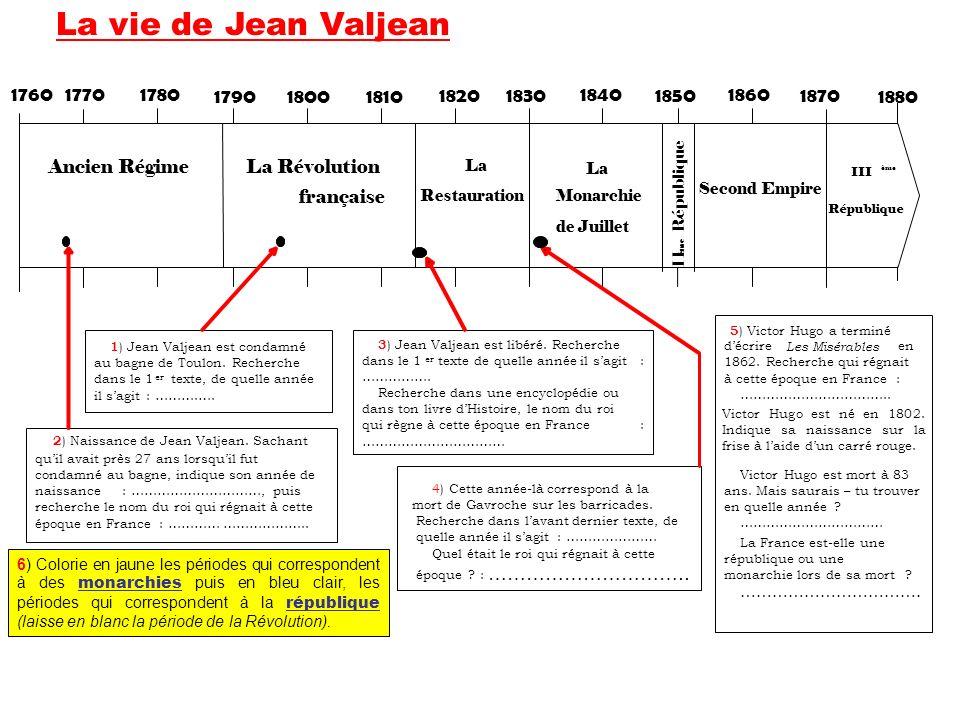 1 ) Jean Valjean est condamné au bagne de Toulon. Recherche dans le 1 er texte, de quelle année il sagit : ……….…. 2 ) Naissance de Jean Valjean. Sacha