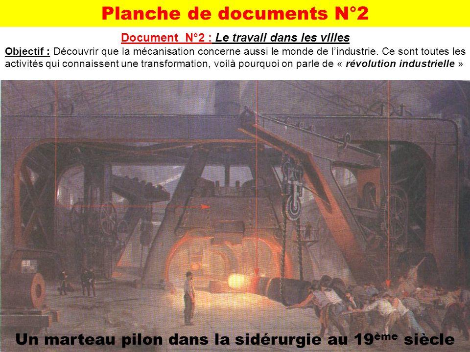 Planche de documents N°2 Document N°2 : Le travail dans les villes Objectif : Découvrir que la mécanisation concerne aussi le monde de lindustrie. Ce
