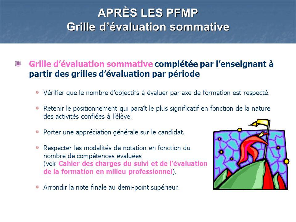 APRÈS LES PFMP Grille dévaluation sommative Grille dévaluation sommative complétée par lenseignant à partir des grilles dévaluation par période Vérifier que le nombre dobjectifs à évaluer par axe de formation est respecté.