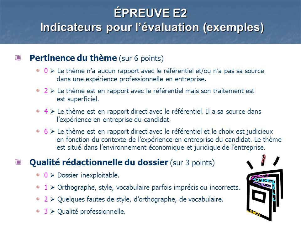 ÉPREUVE E2 Indicateurs pour lévaluation (exemples) Pertinence du thème (sur 6 points) 0 Le thème na aucun rapport avec le référentiel et/ou na pas sa source dans une expérience professionnelle en entreprise.