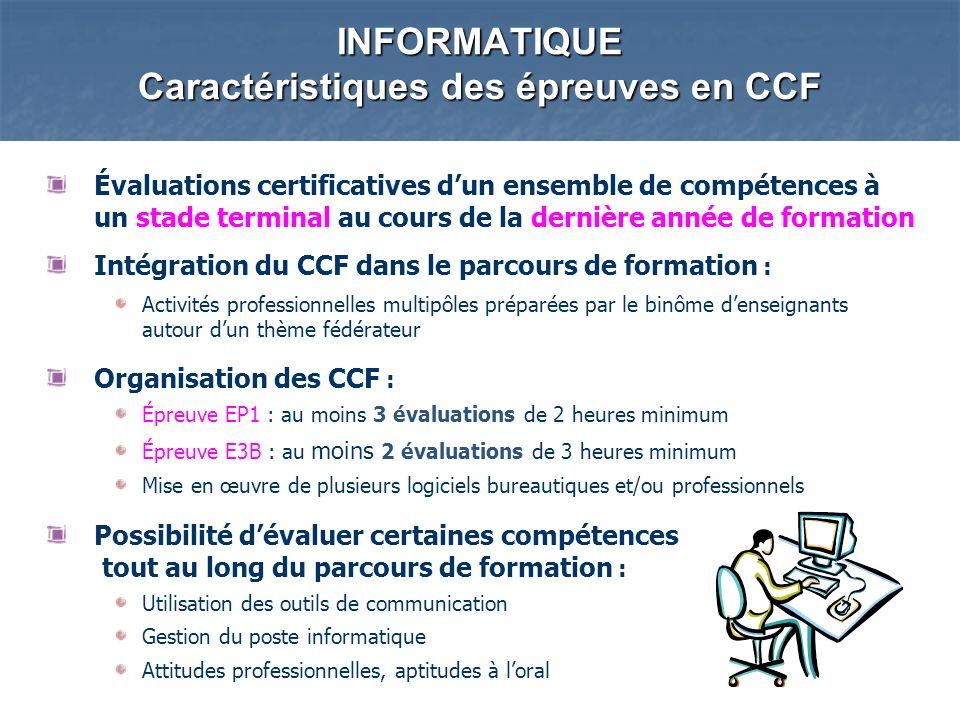 Évaluations certificatives dun ensemble de compétences à un stade terminal au cours de la dernière année de formation Intégration du CCF dans le parco