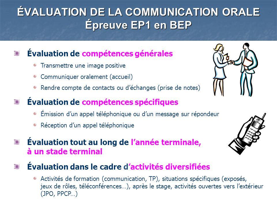 ÉVALUATION DE LA COMMUNICATION ORALE Épreuve EP1 en BEP Évaluation de compétences générales Transmettre une image positive Communiquer oralement (accu