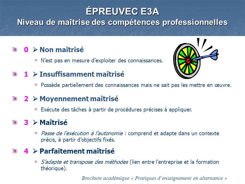 ÉPREUVEC E3A Niveau de maîtrise des compétences professionnelles 0 Non maîtrisé Nest pas en mesure dexploiter des connaissances. 1 Insuffisamment maît