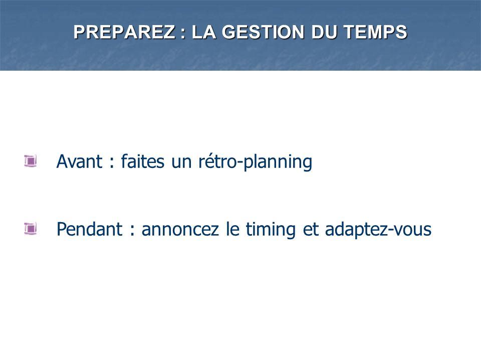 PREPAREZ : LA GESTION DU TEMPS Avant : faites un rétro-planning Pendant : annoncez le timing et adaptez-vous