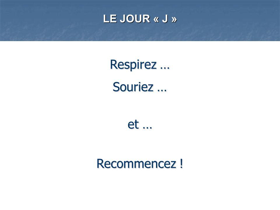 LE JOUR « J » Respirez … Souriez … et … Recommencez !