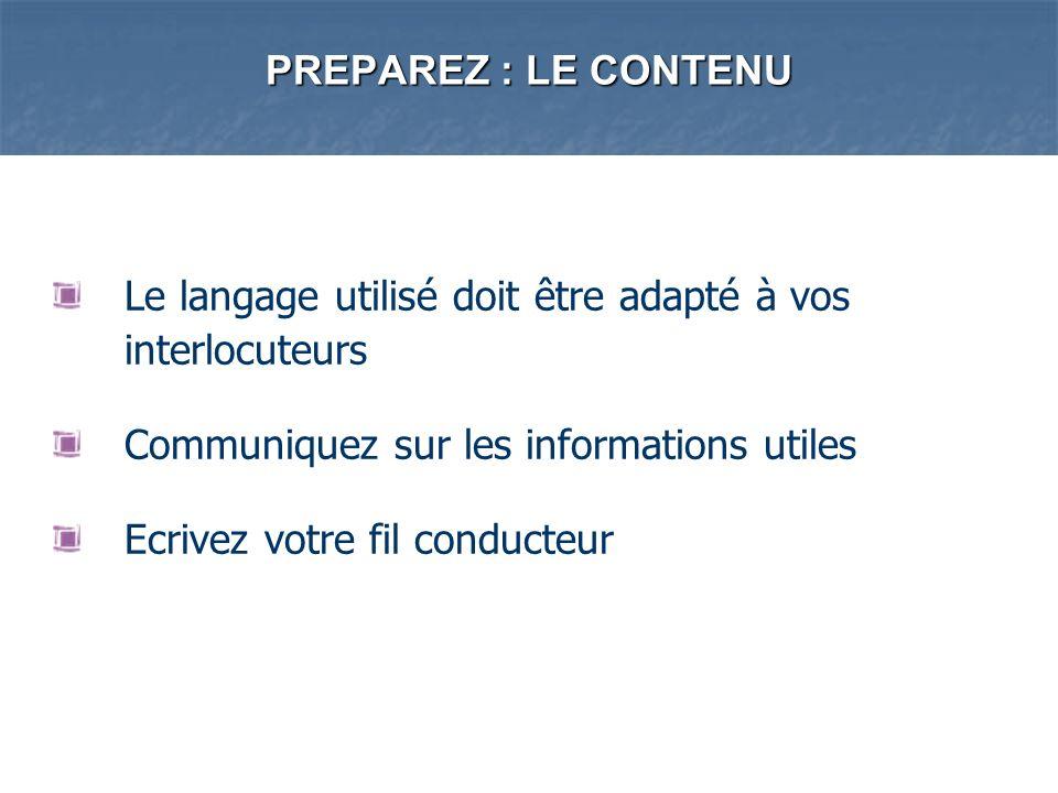 PREPAREZ : LE CONTENU Le langage utilisé doit être adapté à vos interlocuteurs Communiquez sur les informations utiles Ecrivez votre fil conducteur