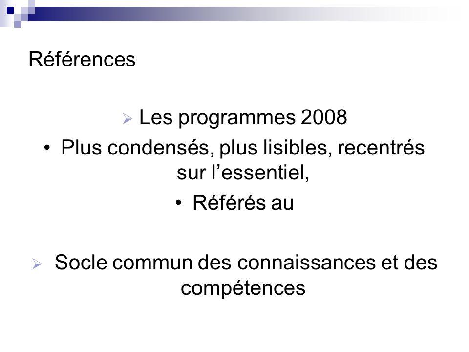 Références Les programmes 2008 Plus condensés, plus lisibles, recentrés sur lessentiel, Référés au Socle commun des connaissances et des compétences