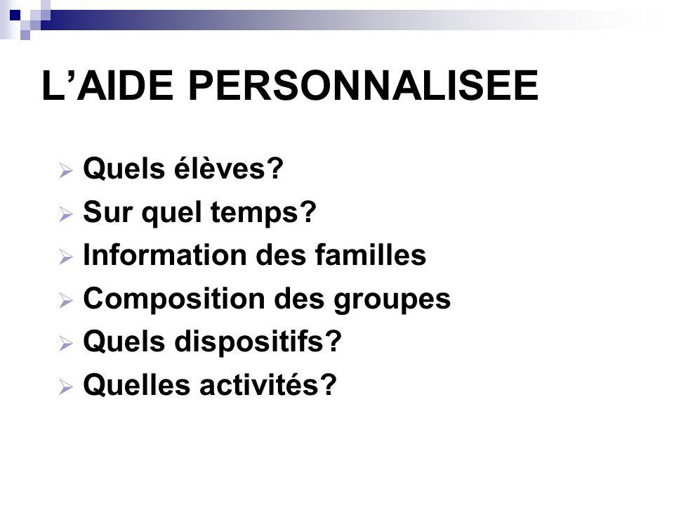 LAIDE PERSONNALISEE Quels élèves? Sur quel temps? Information des familles Composition des groupes Quels dispositifs? Quelles activités?