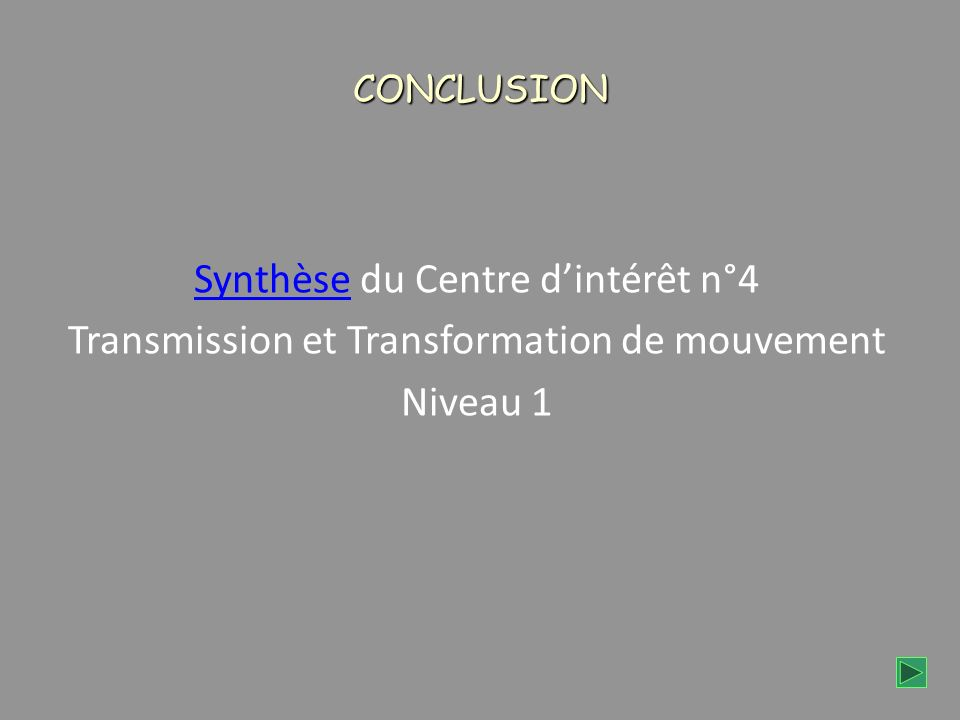 CONCLUSION SynthèseSynthèse du Centre dintérêt n°4 Transmission et Transformation de mouvement Niveau 1