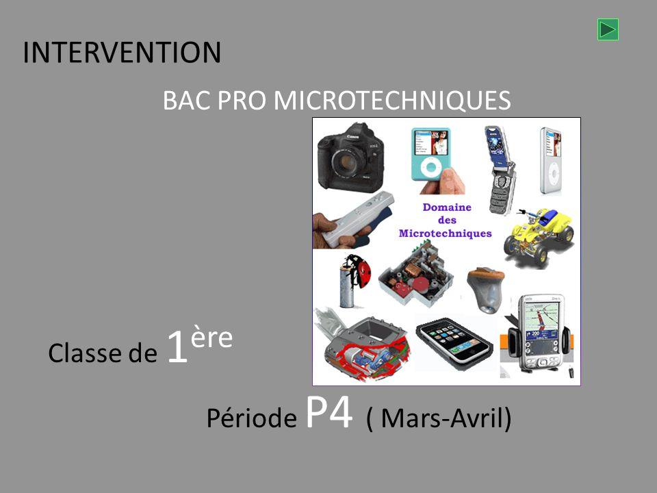 INTERVENTION BAC PRO MICROTECHNIQUES Classe de 1 ère Période P4 ( Mars-Avril)