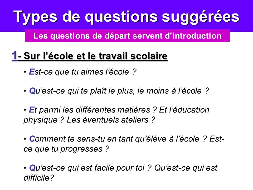 Types de questions suggérées Les questions de départ servent dintroduction 1 - Sur lécole et le travail scolaire E Est-ce que tu aimes lécole ? Q Ques
